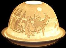 SSITG Windlicht Porzellan Teelichthalter Windlichter Teelichter Weihnachten Tischdeko Rentier mit Kindern