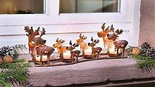 SSITG Windlicht Rentierfamilie 39cm, Teelichthalter, Kerzenständer, Weihnachten