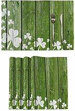 St Patrick's Day Platzsets Set von 6 Kleeblatt
