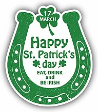 St Patricks Day Horseshoe Grunge - Self-Adhesive