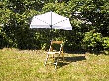 STABIELO - BALKON - Stuhl-Sonnenschirm Holly'mat® - Fächerschirm WEISS - mit Holly ® 360 ° Universalgelenkhalterung GVC (25 EUR) - INNOVATIONEN MADE in GERMANY - HOLLY PRODUKTE STABIELO ® - Für Befestigungen an runden oder eckigen Elementen mit einem Ø bis 35 mm - holly sunshade -