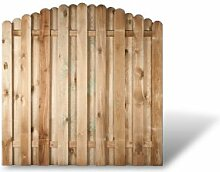 """Stabile Holz Gartenzaun + Terrassen Sichtschutzelemente mit Bogenverlauf im Maß 180 x 180 auf 160 cm (Breite x Höhe) aus Kiefer/Fichte Holz, druckimprägniert """"Bochum"""