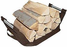 Stabiler ebos Holzkorb, 60x45x27cm geöffnet✓ 100% Wollfilz ✓ Edelstahlgriffe ✓ Handarbeit | Vielseitig nutzbar als Kamin-Holzkorb, Aufbewahrungskorb, Zeitungskorb | Große Holztrage, Feuerholztrage | Designer Kaminkorb für Kamin-Holz in mahagoni-braun