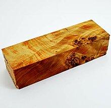 Stabilisierter Holzblock, Holzblock, roter Griff,