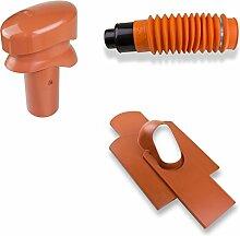 Stabilo-Sanitaer Klöber-Set8 Dachentlüftung DN100 rot kurz Biberschwanz Strangentlüftung Dachdurchführung Dachentlüfter Lüftungsziegel