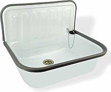 Stabilo-Sanitaer Stahl Ausgussbecken weiß emailliert Spülbecken Waschtisch Abflussbecken Keller mit Rückwand