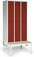 Stabilux Spind Basic mit untergebauter Sitzbank, 3 Abteile, Abteilbreite 300 mm, Korpus lichtgrau, Türen rot, 5 Jahre Garantie