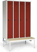 Stabilux Spind Basic mit untergebauter Sitzbank, 4 Abteile, Abteilbreite 300 mm, Korpus lichtgrau, Türen rot, 5 Jahre Garantie