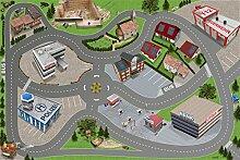Stadt-City-Auto-Straße Spielmatte (Spielteppich) für das Kinderzimmer - SM05 - Maße: ca. 150 x 100 cm