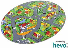 Stadt Land Fluss HEVO® Teppich | Kinderteppich | Spielteppich 125x195 cm Ellipse