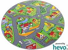 Stadt Land Fluss HEVO® Teppich | Kinderteppich | Spielteppich 200 cm Ø Rund