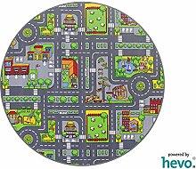 Stadt Mix HEVO® Strassen Spielteppich | Kinderteppich 200 cm Ø Rund