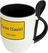 Städtetasse Calbe (Saale) - Löffel-Tasse mit