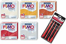 Staedtler Fimo Effekt Metallic Farben, 5Stück (Mother of Pearl, gold, Kupfer, Ruby Rot, Silber) + Bonus Modellier Werkzeuge 4