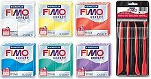 Staedtler Fimo Effekt transluzente Farben 6Stück (transparent, gelb, rot, blau, grün, lila) + Bonus Modellier Werkzeuge 4