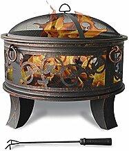 Stahl Feuerschale 66cm Feuerstelle schwarz Klassik