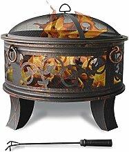 Stahl Feuerschale 66cm Feuerstelle schwarz Klassik Stil Feuerkorb robust Schürhaken Standbeine Schutzdeckel Funkenhaube