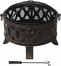Stahl Feuerschale 70,5cm antik Feuerstelle schwarz