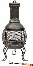 Stahl schwarz antik gold Fire Pit Outdoor Garden Heizpilz BBQ Kamin
