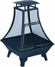 Stahl Terrassen-Kamin 100cm schwarz Designer Edel-Stahl Feuer-Korb Garten-Kamin Feuer-Schale Feuer-Stelle quadratisch Grill-Feuer
