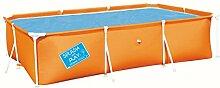 Stahlrahmenbecken, 3.300 Liter, 3-lagiges Material, 300x201cm, orange - Rechteckig Frame Pool Stahlrahmen Swimming Pool Familien Aufstellpool