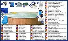 Stahlwandbecken All-In Set rund 7,00m x 1,20m Folie 0,8mm mit Holzverkleidung aus Douglasie Pool Pools Rundbecken Rundpool