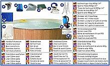 Stahlwandbecken All-In Set rund sandfarben 5,00m x 1,20m Folie 0,8mm mit Holzverkleidung aus Douglasie Pool Pools Rundbecken Rundpool
