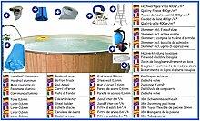 Stahlwandbecken Mega Set rund 1,50m x 0,90m Folie 0,6mm mit Holzverkleidung aus Douglasie Pool Pools Rundbecken Rundpool