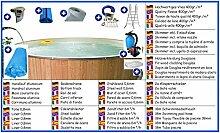 Stahlwandbecken Mega Set rund 5,00m x 1,20m Folie 0,8mm mit Holzverkleidung aus Douglasie Pool Pools Rundbecken Rundpool