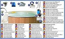 Stahlwandbecken Mega Set rund sandfarben 2,00m x 0,90m Folie 0,6mm mit Holzverkleidung aus Douglasie Pool Pools Rundbecken Rundpool