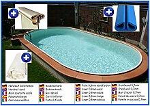 Stahlwandbecken oval sandfarben 3,60m x 6,23m x 1,50m Folie 0,8mm ohne Filter Pool Pools Ovalbecken Ovalpool
