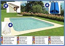 Stahlwandbecken rechteck sandfarben 3,50m x 7,00m x 1,50m Folie 0,8mm ohne Filter Pool Pools Rechteckbecken Rechteckpool
