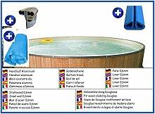 Stahlwandbecken rund 4,00m x 0,90m Folie 0,6mm mit Holzverkleidung aus Douglasie Pool Pools Rundbecken Rundpool