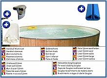 Stahlwandbecken rund sandfarben 2,00m x 0,90m Folie 0,6mm mit Holzverkleidung aus Douglasie Pool Pools Rundbecken Rundpool