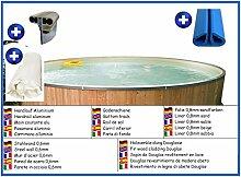 Stahlwandbecken rund sandfarben 5,00m x 1,20m Folie 0,8mm mit Holzverkleidung aus Douglasie Pool Pools Rundbecken Rundpool