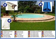 Stahlwandbecken rund sandfarben 5,50m x 1,20m Folie 0,8mm ohne Filter Pool Pools Rundbecken Rundpool