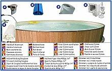 Stahlwandbecken Spar Set rund sandfarben 1,50m x 0,90m Folie 0,6mm mit Holzverkleidung aus Douglasie Pool Pools Rundbecken Rundpool