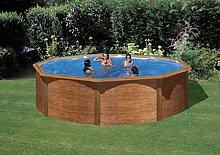Stahlwandbecken Steely de luxe Wood 4,6x1,2m; SET