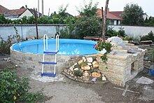 Stahlwandbecken weiss Pool Schwimmbecken Luxusbecken 3,50 m x 1,20 m inkl. Bodenschienen, Handläufe, Innenfolie + Einbauskimmer + Einlaufdüse + Leiter