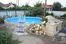 Stahlwandbecken weiss Pool Schwimmbecken Luxusbecken 5,50 m x 1,20 m inkl. Bodenschienen, Handläufe, Innenfolie + Einbauskimmer + Einlaufdüse + Leiter