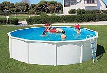 Stahlwandbecken weiss Pool Schwimmbecken Luxusbecken breiter Handlauf 4,60 m x 1,20 m inkl. Bodenschienen, Handläufe, Innenfolie + Einbauskimmer + Einlaufdüse + Leiter
