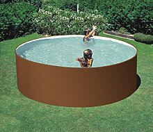 Stahlwandpool rundform braun 350x120 cm Sorglospake