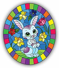 Stained Glass Rabbit - Self-Adhesive Sticker Car