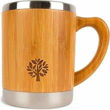 Stainless Steel & Bamboo Coffee Mug - Insulated