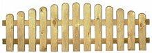 StaketenZaun 'Premium' 180x46/60cm - oben – kdi / V2A Edelstahl Schrauben verschraubt - aus getrocknetem Holz glatt gehobelt – oben gebogene Ausführung - kesseldruckimprägnier