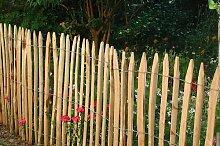 Staketenzaun aus Kastanienholz H=120cm, L=10m, Staketenabstand=5cm