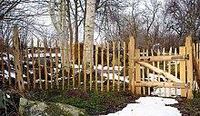 Staketenzaun-Tor - Kastanie - im Maß 100 x 120 cm ( Breite x Höhe ) als Gartentor / Holztor aus der Serie Holz Natur-Zaun