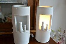 Standleuchte - Lampe weiss -Tischlampe Stehleuchte
