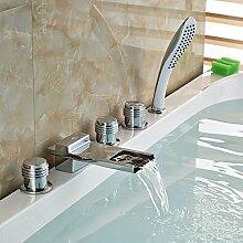 Standmontage Bad verbreiteten langen Auswurfkrümmer Wasserfall Whirlpool Badewanne Armatur Mixer 5pcs Wasserhahn mit Handdusche, Klar