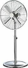 Standventilator Retro Metall-Ventilator verchromt (40 cm Rotor, leise 50W, 3 Geschwindigkeiten, neigbar und schwenkbar)